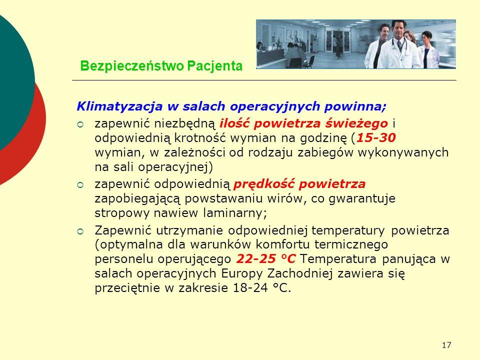 17 Bezpieczeństwo Pacjenta Klimatyzacja w salach operacyjnych powinna; zapewnić niezbędną ilość powietrza świeżego i odpowiednią krotność wymian na go