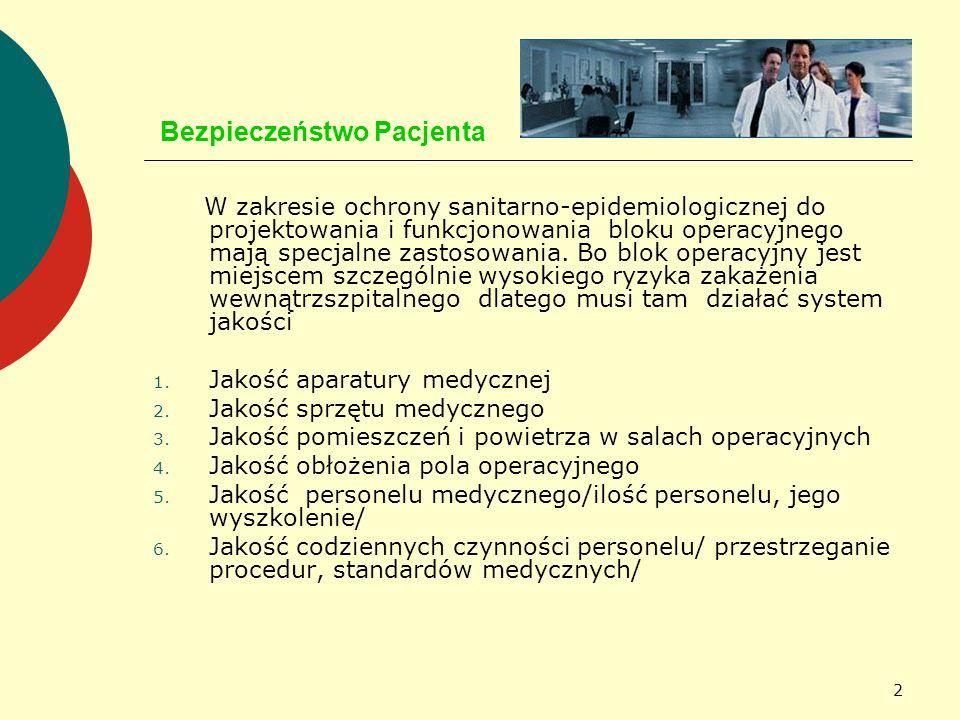 2 Bezpieczeństwo Pacjenta W zakresie ochrony sanitarno-epidemiologicznej do projektowania i funkcjonowania bloku operacyjnego mają specjalne zastosowa