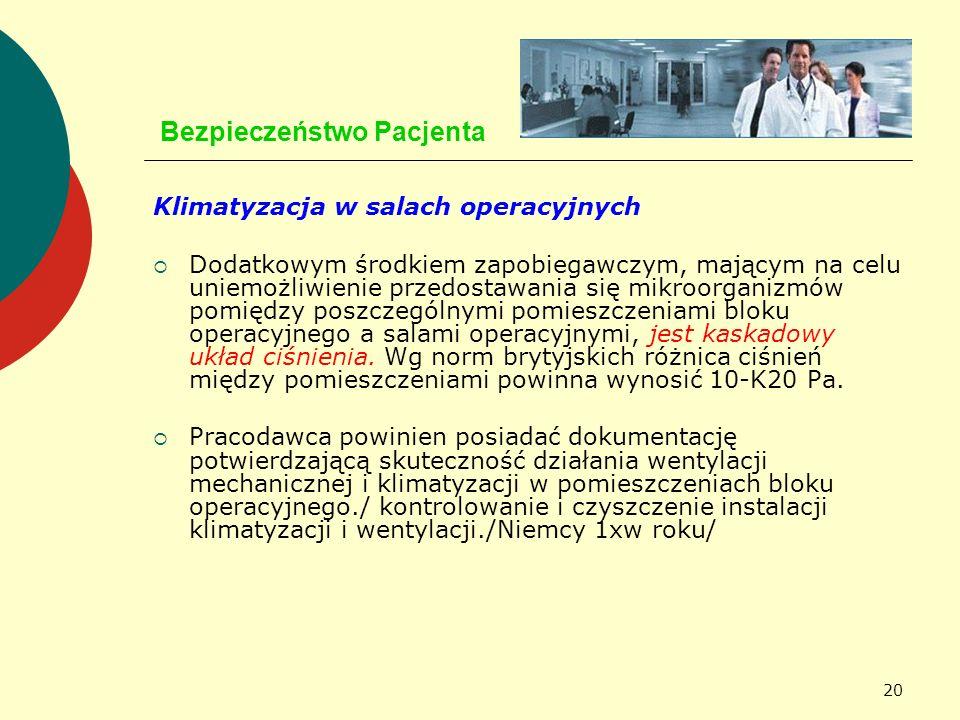 20 Bezpieczeństwo Pacjenta Klimatyzacja w salach operacyjnych Dodatkowym środkiem zapobiegawczym, mającym na celu uniemożliwienie przedostawania się m