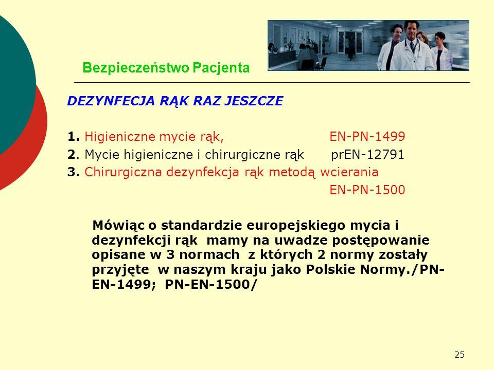 25 Bezpieczeństwo Pacjenta DEZYNFECJA RĄK RAZ JESZCZE 1. Higieniczne mycie rąk, EN-PN-1499 2. Mycie higieniczne i chirurgiczne rąk prEN-12791 3. Chiru