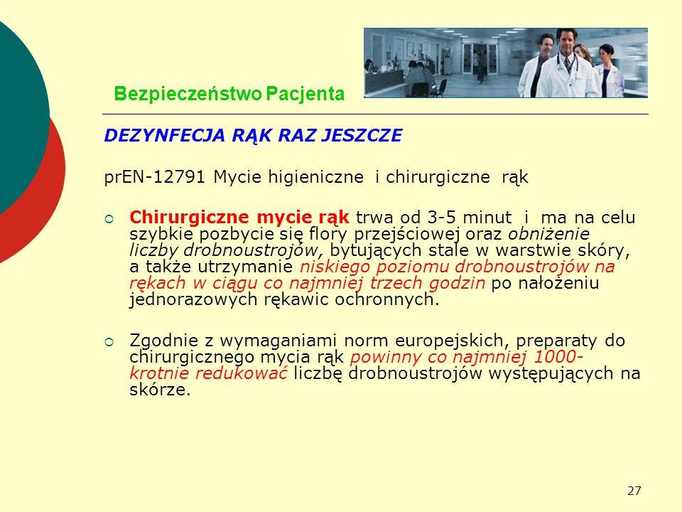 27 Bezpieczeństwo Pacjenta DEZYNFECJA RĄK RAZ JESZCZE prEN-12791 Mycie higieniczne i chirurgiczne rąk Chirurgiczne mycie rąk trwa od 3-5 minut i ma na