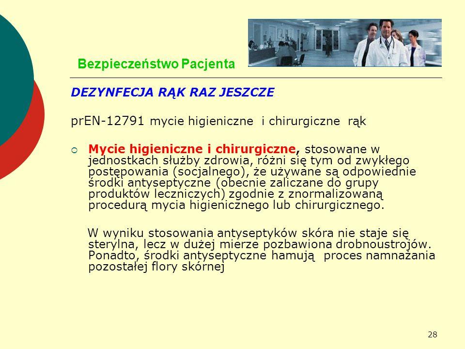 28 Bezpieczeństwo Pacjenta DEZYNFECJA RĄK RAZ JESZCZE prEN-12791 mycie higieniczne i chirurgiczne rąk Mycie higieniczne i chirurgiczne, stosowane w je