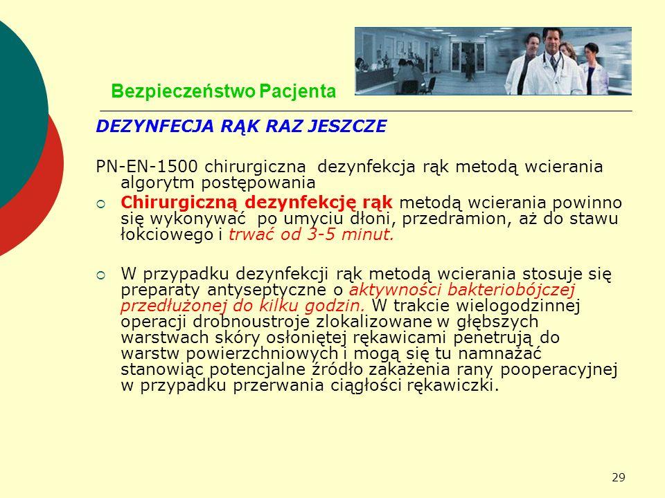 29 Bezpieczeństwo Pacjenta DEZYNFECJA RĄK RAZ JESZCZE PN-EN-1500 chirurgiczna dezynfekcja rąk metodą wcierania algorytm postępowania Chirurgiczną dezy