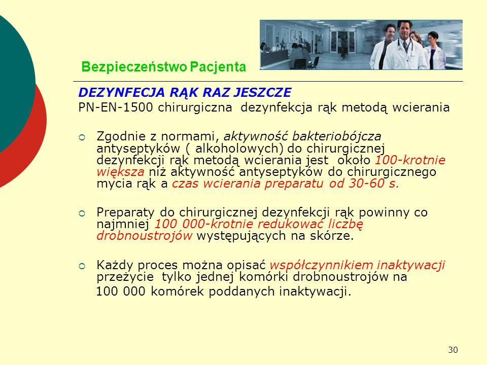 30 Bezpieczeństwo Pacjenta DEZYNFECJA RĄK RAZ JESZCZE PN-EN-1500 chirurgiczna dezynfekcja rąk metodą wcierania Zgodnie z normami, aktywność bakteriobó