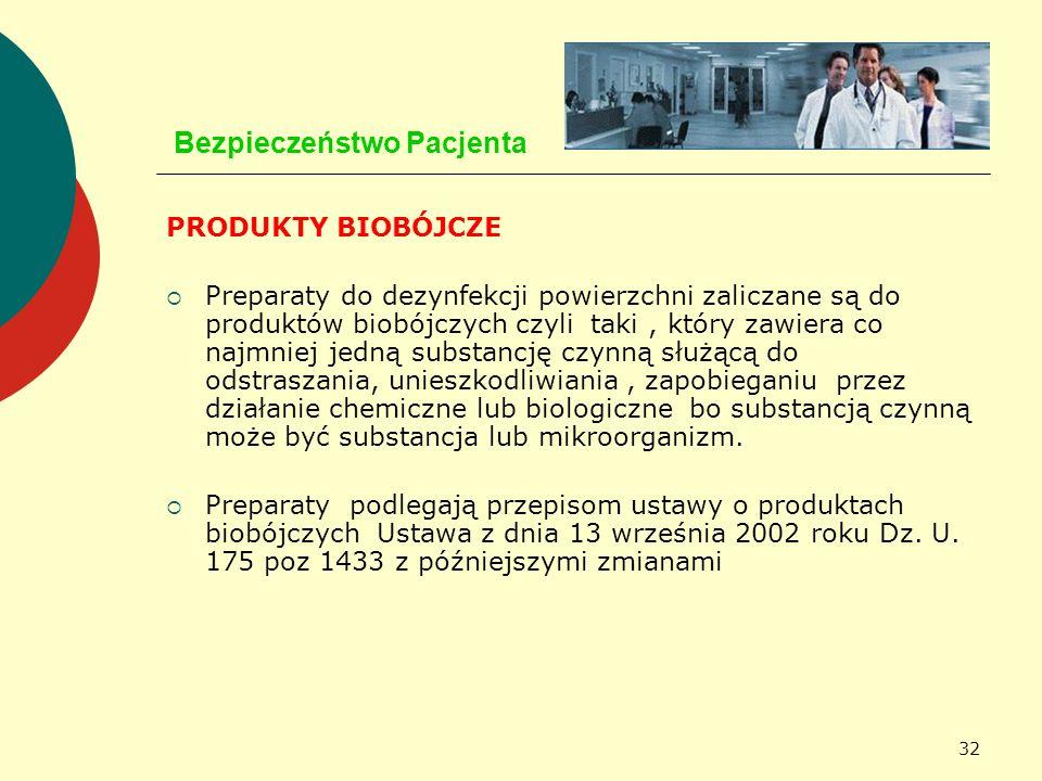 32 Bezpieczeństwo Pacjenta PRODUKTY BIOBÓJCZE Preparaty do dezynfekcji powierzchni zaliczane są do produktów biobójczych czyli taki, który zawiera co