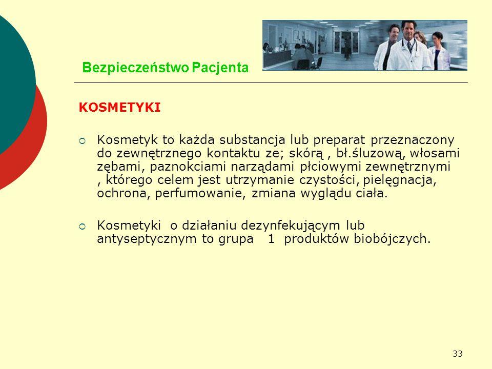 33 Bezpieczeństwo Pacjenta KOSMETYKI Kosmetyk to każda substancja lub preparat przeznaczony do zewnętrznego kontaktu ze; skórą, bł.śluzową, włosami zę