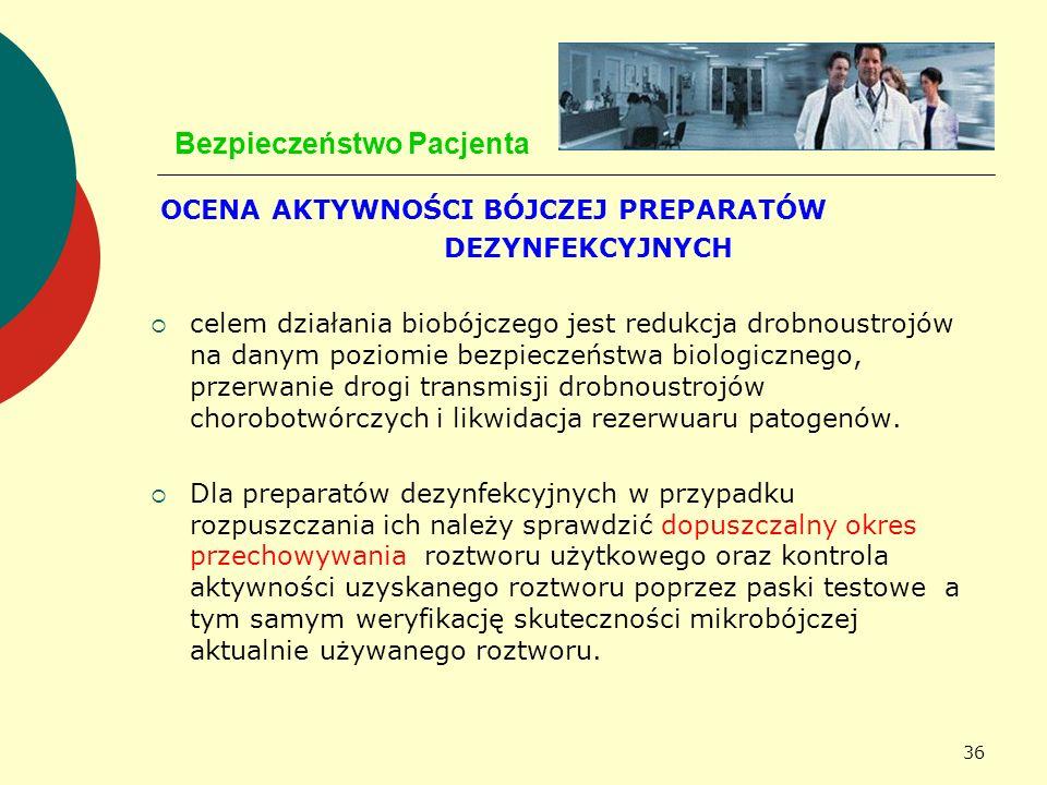 36 Bezpieczeństwo Pacjenta OCENA AKTYWNOŚCI BÓJCZEJ PREPARATÓW DEZYNFEKCYJNYCH celem działania biobójczego jest redukcja drobnoustrojów na danym pozio