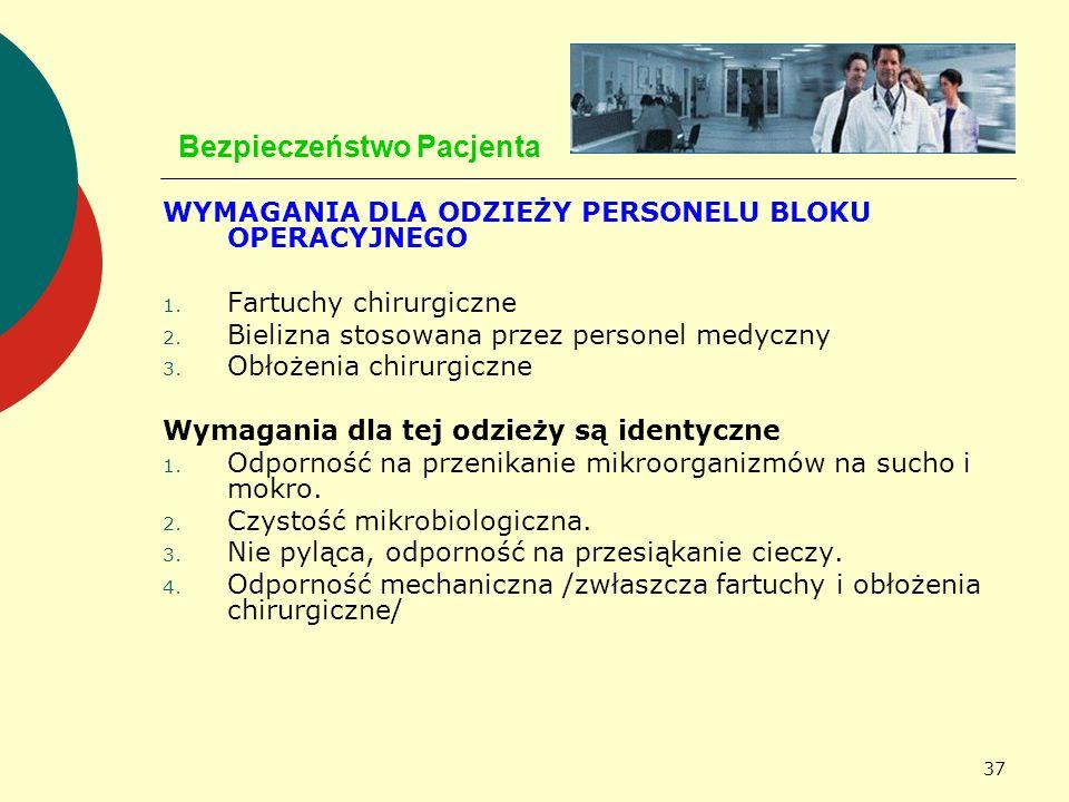 37 Bezpieczeństwo Pacjenta WYMAGANIA DLA ODZIEŻY PERSONELU BLOKU OPERACYJNEGO 1. Fartuchy chirurgiczne 2. Bielizna stosowana przez personel medyczny 3