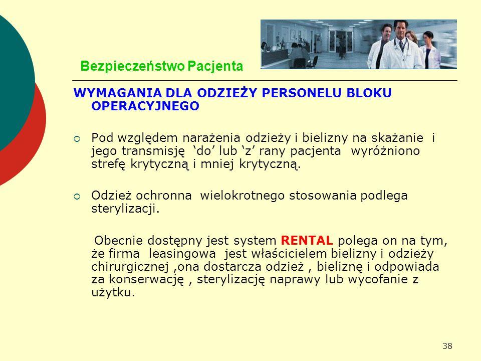 38 Bezpieczeństwo Pacjenta WYMAGANIA DLA ODZIEŻY PERSONELU BLOKU OPERACYJNEGO Pod względem narażenia odzieży i bielizny na skażanie i jego transmisję