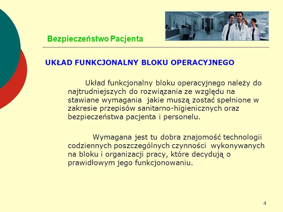 4 Bezpieczeństwo Pacjenta UKŁAD FUNKCJONALNY BLOKU OPERACYJNEGO Układ funkcjonalny bloku operacyjnego należy do najtrudniejszych do rozwiązania ze wzg