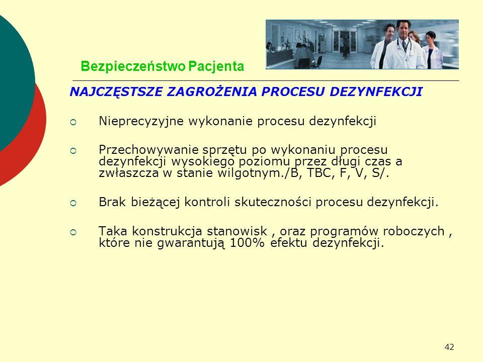 42 Bezpieczeństwo Pacjenta NAJCZĘSTSZE ZAGROŻENIA PROCESU DEZYNFEKCJI Nieprecyzyjne wykonanie procesu dezynfekcji Przechowywanie sprzętu po wykonaniu