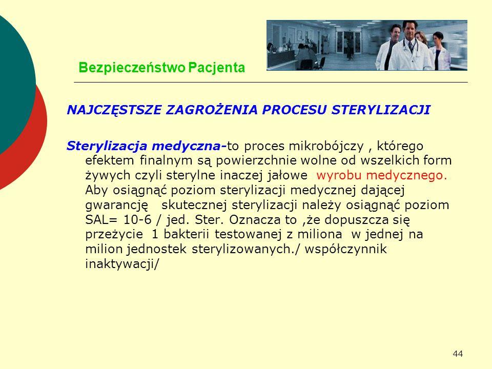 44 Bezpieczeństwo Pacjenta NAJCZĘSTSZE ZAGROŻENIA PROCESU STERYLIZACJI Sterylizacja medyczna-to proces mikrobójczy, którego efektem finalnym są powier