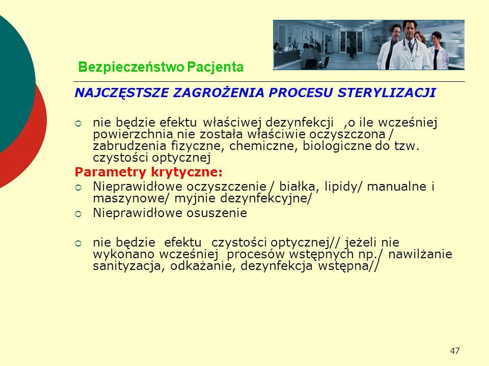 47 Bezpieczeństwo Pacjenta NAJCZĘSTSZE ZAGROŻENIA PROCESU STERYLIZACJI nie będzie efektu właściwej dezynfekcji,o ile wcześniej powierzchnia nie został