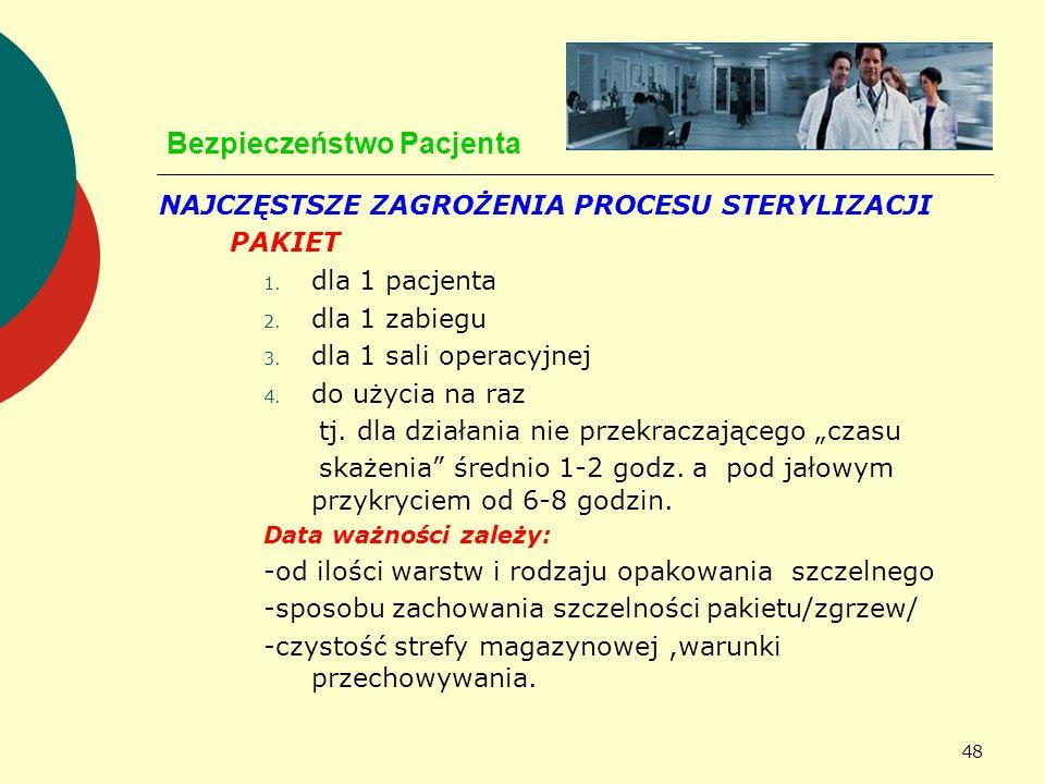 48 Bezpieczeństwo Pacjenta NAJCZĘSTSZE ZAGROŻENIA PROCESU STERYLIZACJI PAKIET 1. dla 1 pacjenta 2. dla 1 zabiegu 3. dla 1 sali operacyjnej 4. do użyci