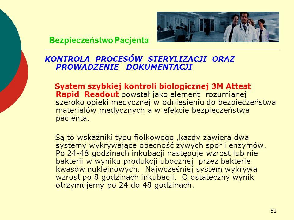 51 Bezpieczeństwo Pacjenta KONTROLA PROCESÓW STERYLIZACJI ORAZ PROWADZENIE DOKUMENTACJI System szybkiej kontroli biologicznej 3M Attest Rapid Readout