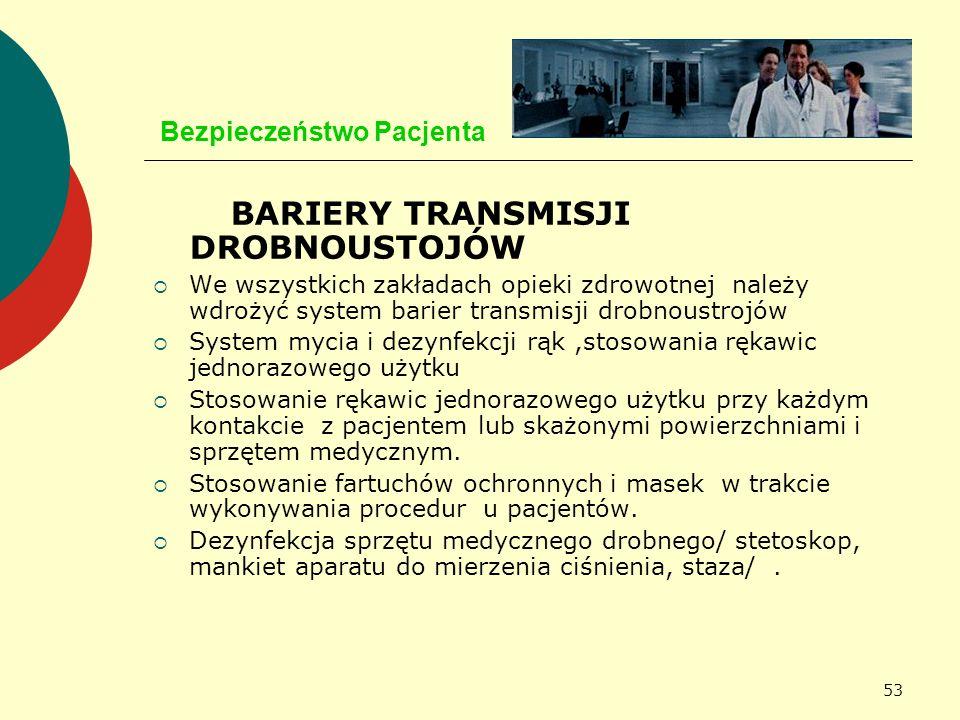 53 Bezpieczeństwo Pacjenta BARIERY TRANSMISJI DROBNOUSTOJÓW We wszystkich zakładach opieki zdrowotnej należy wdrożyć system barier transmisji drobnous