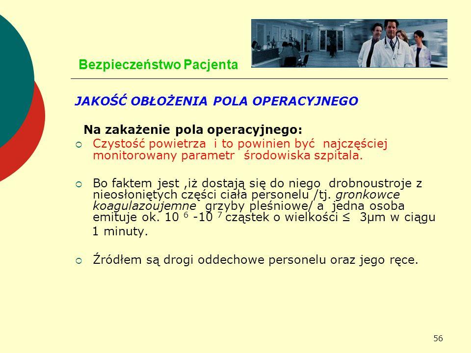 56 Bezpieczeństwo Pacjenta JAKOŚĆ OBŁOŻENIA POLA OPERACYJNEGO Na zakażenie pola operacyjnego: Czystość powietrza i to powinien być najczęściej monitor
