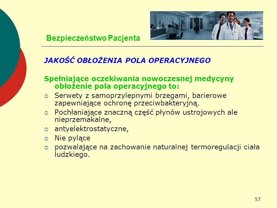 57 Bezpieczeństwo Pacjenta JAKOŚĆ OBŁOŻENIA POLA OPERACYJNEGO Spełniające oczekiwania nowoczesnej medycyny obłożenie pola operacyjnego to: Serwety z s