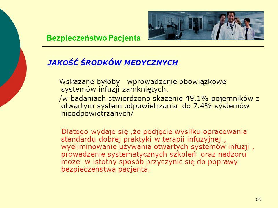 65 Bezpieczeństwo Pacjenta JAKOŚĆ ŚRODKÓW MEDYCZNYCH Wskazane byłoby wprowadzenie obowiązkowe systemów infuzji zamkniętych. /w badaniach stwierdzono s