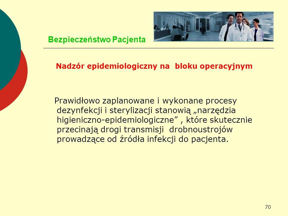 70 Bezpieczeństwo Pacjenta Nadzór epidemiologiczny na bloku operacyjnym Prawidłowo zaplanowane i wykonane procesy dezynfekcji i sterylizacji stanowią