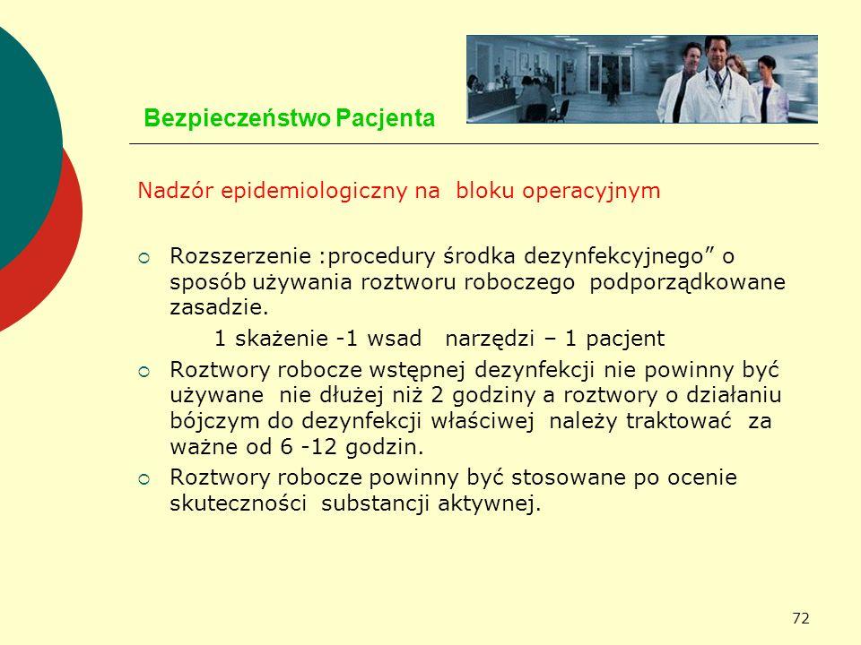 72 Bezpieczeństwo Pacjenta Nadzór epidemiologiczny na bloku operacyjnym Rozszerzenie :procedury środka dezynfekcyjnego o sposób używania roztworu robo