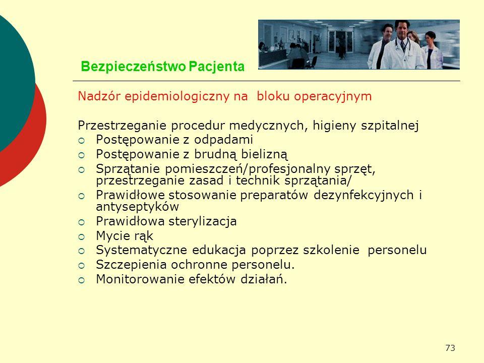 73 Bezpieczeństwo Pacjenta Nadzór epidemiologiczny na bloku operacyjnym Przestrzeganie procedur medycznych, higieny szpitalnej Postępowanie z odpadami