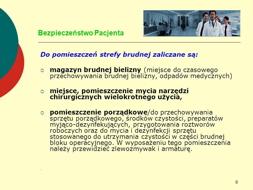 59 Bezpieczeństwo Pacjenta JAKOŚĆ PERONELU MEDYCZNEGO JEST GWARANCJĄ USŁUGI MEDYCZNEJ im mniej personelu tym lepiej, blok powinien mieć opracowane normy zatrudnienia -dwie pielęgniarki instrumentariuszki -jedna pielęgniarka anestezjologiczna -lekarz anestezjolog stale obecny -chirurdzy technika operacyjna, wyszkolenie personelu, jego świadomość iż to on stanowi największe zagrożenie dla pacjenta czas trwania zabiegu operacyjnego, ryzyko powikłań rośnie gdy zabieg trwa dłużej niż 2 godziny dla procedur chirurgicznych opracowano graniczne czasy; dla cięcia cesarskiego 1 godzina dla kardiochirurgicznego 5 godzin
