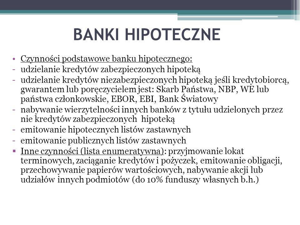 BANKI HIPOTECZNE Czynności podstawowe banku hipotecznego: -udzielanie kredytów zabezpieczonych hipoteką -udzielanie kredytów niezabezpieczonych hipote