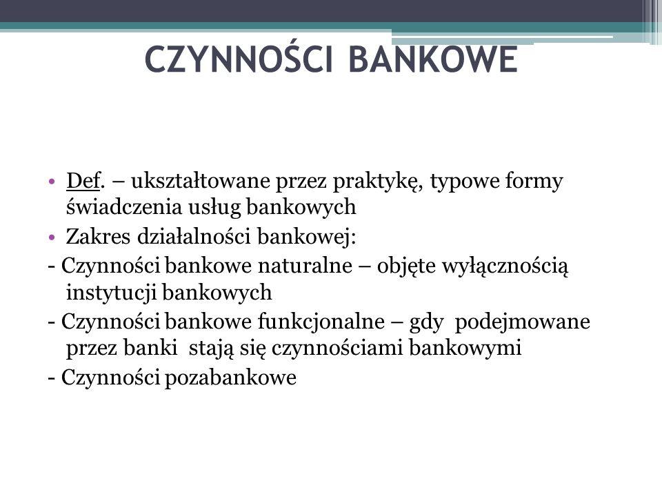 CZYNNOŚCI BANKOWE Def. – ukształtowane przez praktykę, typowe formy świadczenia usług bankowych Zakres działalności bankowej: - Czynności bankowe natu