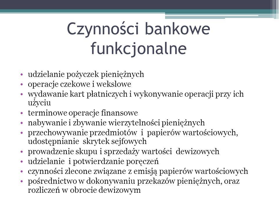 Czynności bankowe funkcjonalne udzielanie pożyczek pieniężnych operacje czekowe i wekslowe wydawanie kart płatniczych i wykonywanie operacji przy ich