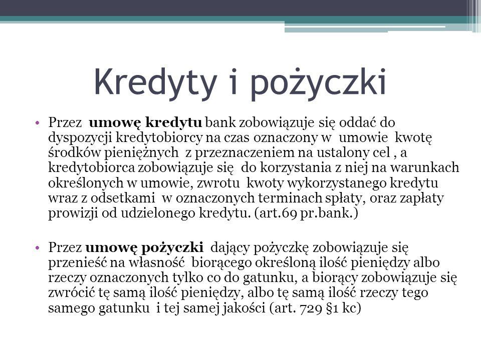 Kredyty i pożyczki Przez umowę kredytu bank zobowiązuje się oddać do dyspozycji kredytobiorcy na czas oznaczony w umowie kwotę środków pieniężnych z p