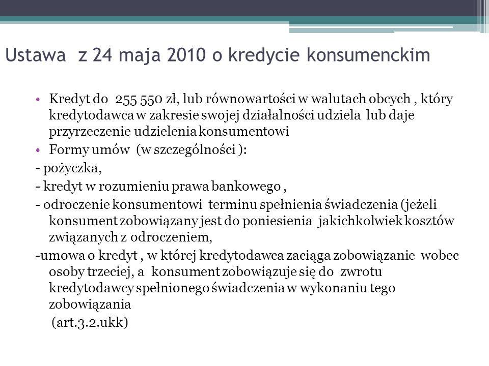 Ustawa z 24 maja 2010 o kredycie konsumenckim Kredyt do 255 550 zł, lub równowartości w walutach obcych, który kredytodawca w zakresie swojej działaln