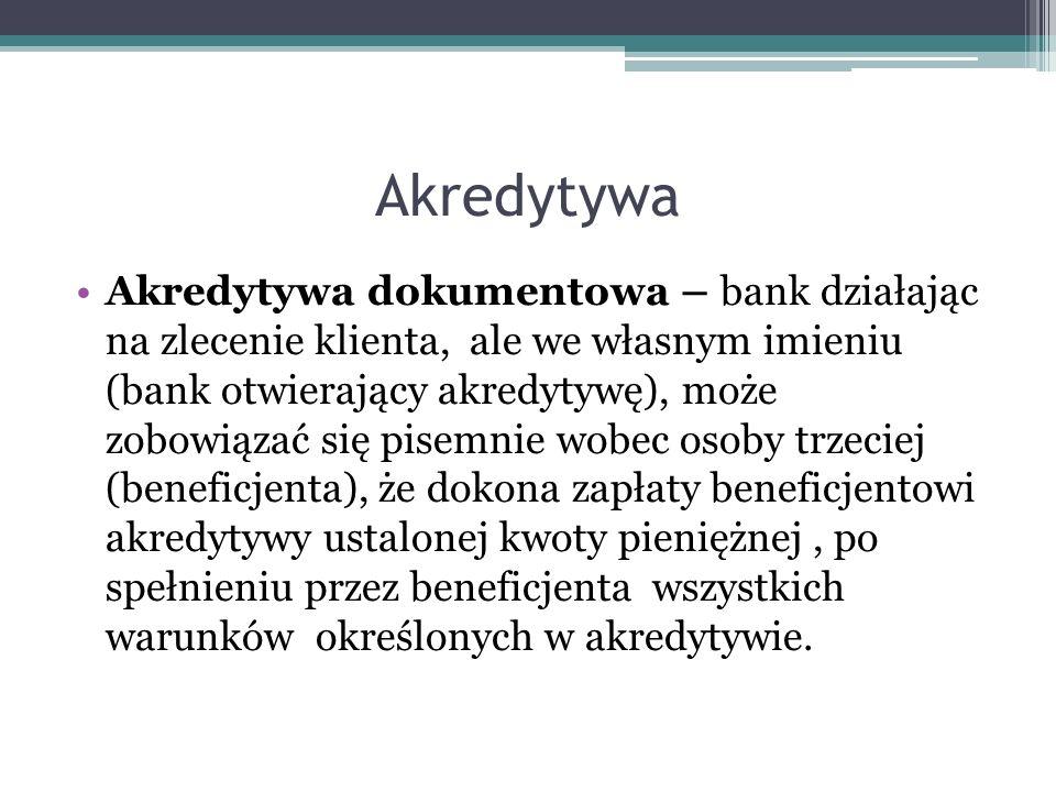 Akredytywa Akredytywa dokumentowa – bank działając na zlecenie klienta, ale we własnym imieniu (bank otwierający akredytywę), może zobowiązać się pise