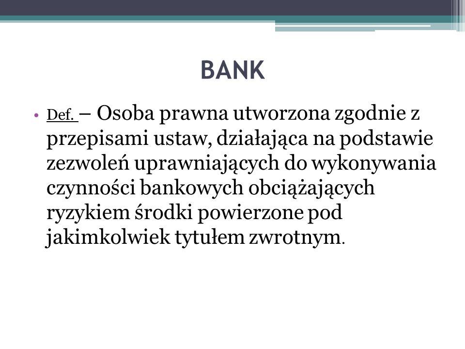BANK Def. – Osoba prawna utworzona zgodnie z przepisami ustaw, działająca na podstawie zezwoleń uprawniających do wykonywania czynności bankowych obci