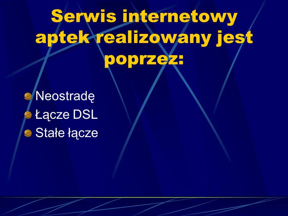 Serwis internetowy aptek realizowany jest poprzez: Neostradę Łącze DSL Stałe łącze