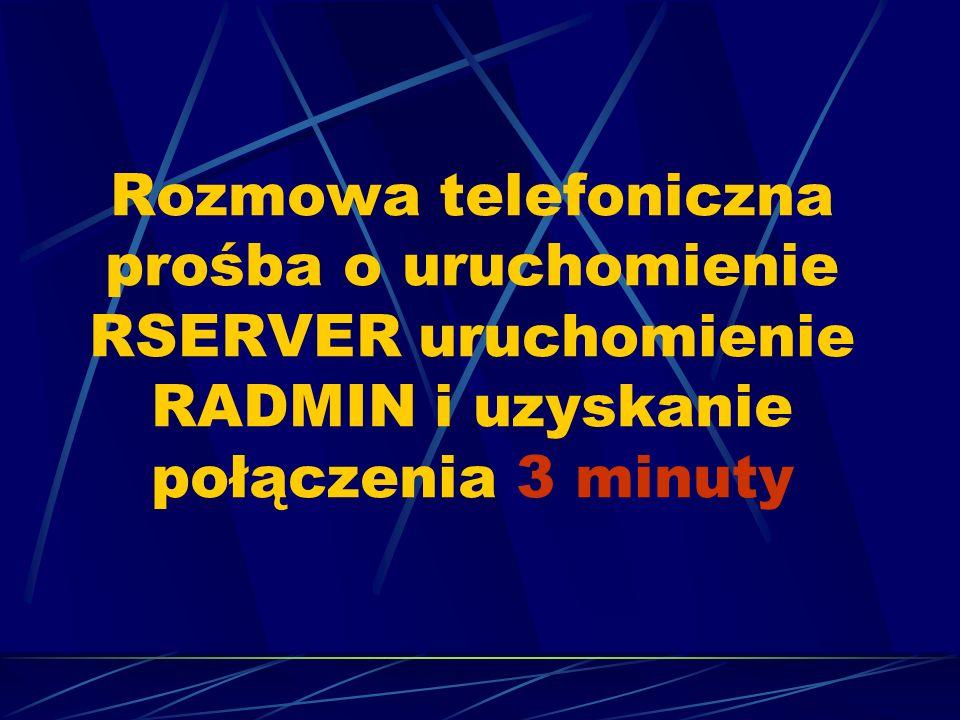 Rozmowa telefoniczna prośba o uruchomienie RSERVER uruchomienie RADMIN i uzyskanie połączenia 3 minuty