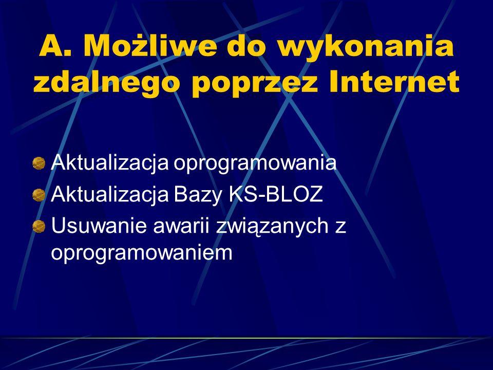 A. Możliwe do wykonania zdalnego poprzez Internet Aktualizacja oprogramowania Aktualizacja Bazy KS-BLOZ Usuwanie awarii związanych z oprogramowaniem