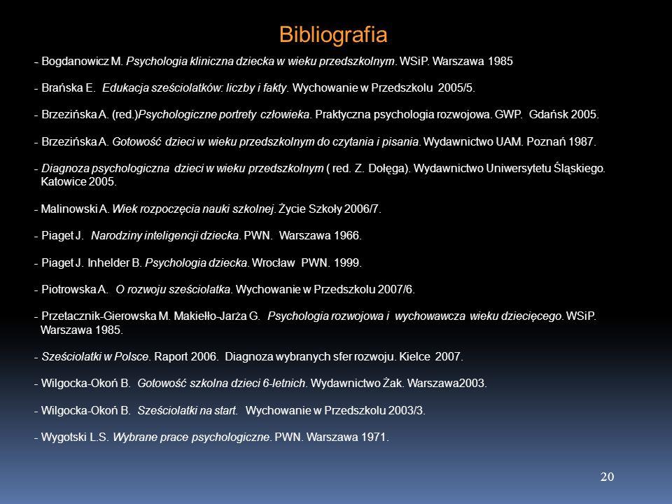 20 Bibliografia - - Bogdanowicz M. Psychologia kliniczna dziecka w wieku przedszkolnym. WSiP. Warszawa 1985 - Brańska E. Edukacja sześciolatków: liczb