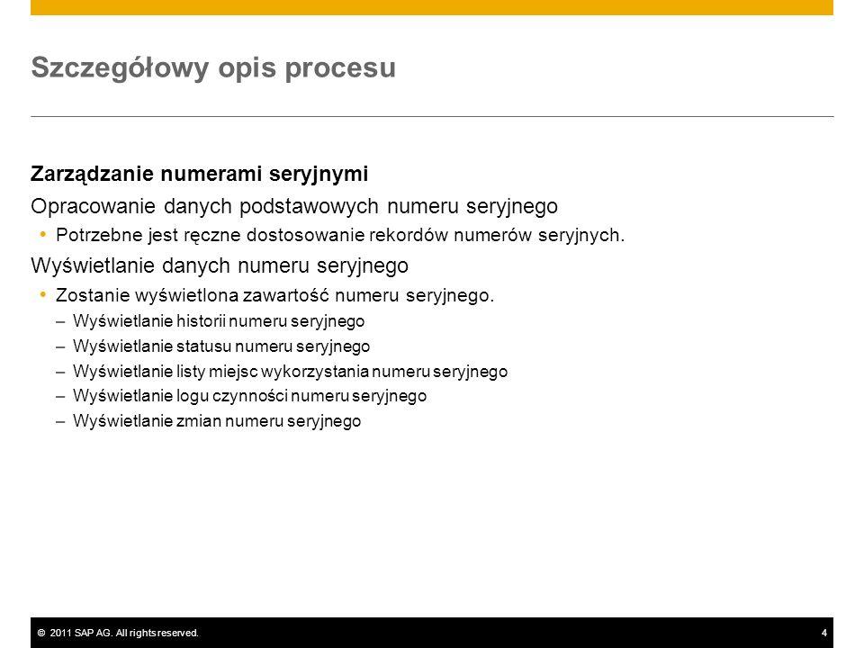 ©2011 SAP AG. All rights reserved.4 Szczegółowy opis procesu Zarządzanie numerami seryjnymi Opracowanie danych podstawowych numeru seryjnego Potrzebne