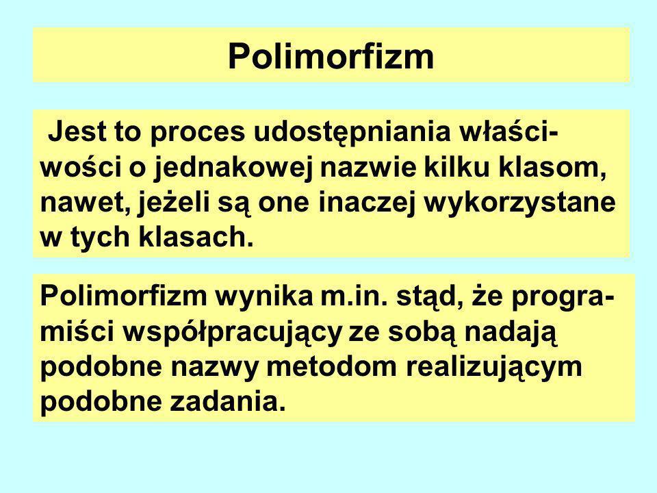 Polimorfizm Jest to proces udostępniania właści- wości o jednakowej nazwie kilku klasom, nawet, jeżeli są one inaczej wykorzystane w tych klasach.