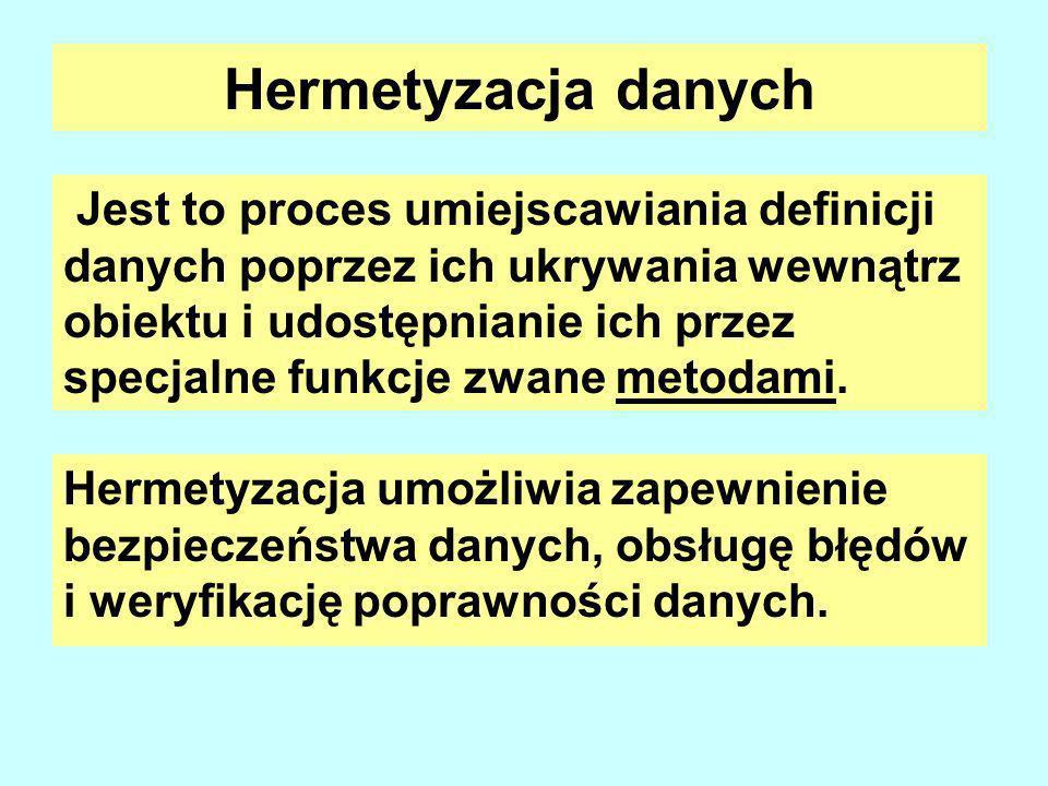 Hermetyzacja danych Jest to proces umiejscawiania definicji danych poprzez ich ukrywania wewnątrz obiektu i udostępnianie ich przez specjalne funkcje zwane metodami.