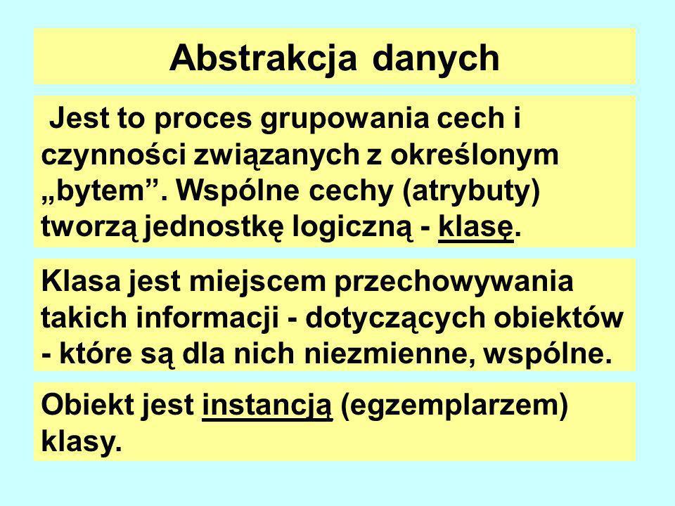 Abstrakcja danych Jest to proces grupowania cech i czynności związanych z określonym bytem.