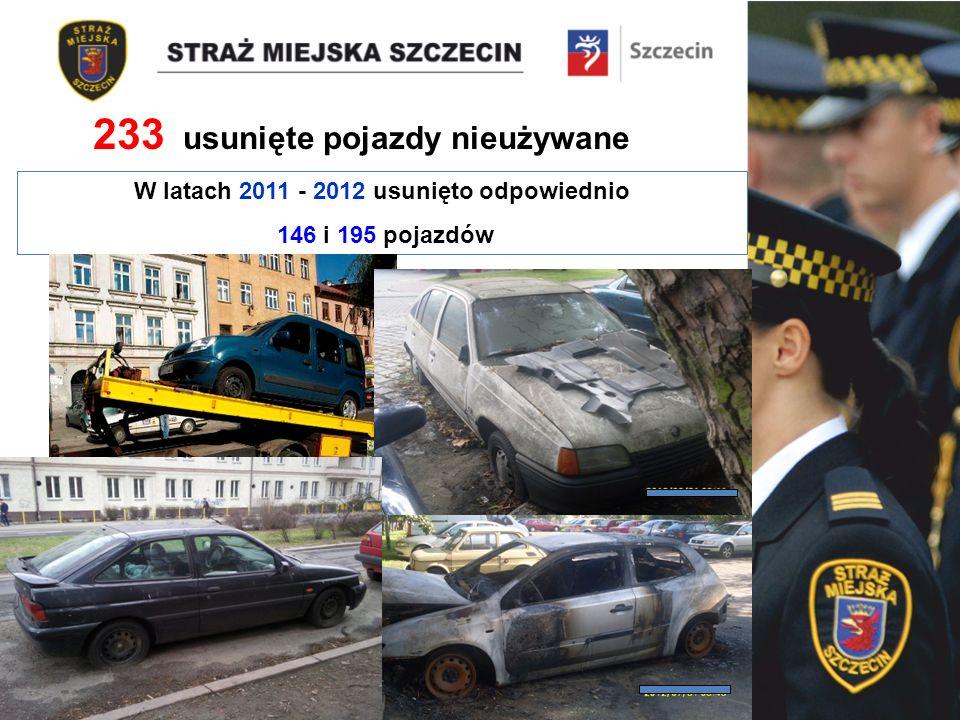 W latach 2011 - 2012 usunięto odpowiednio 146 i 195 pojazdów 233 usunięte pojazdy nieużywane