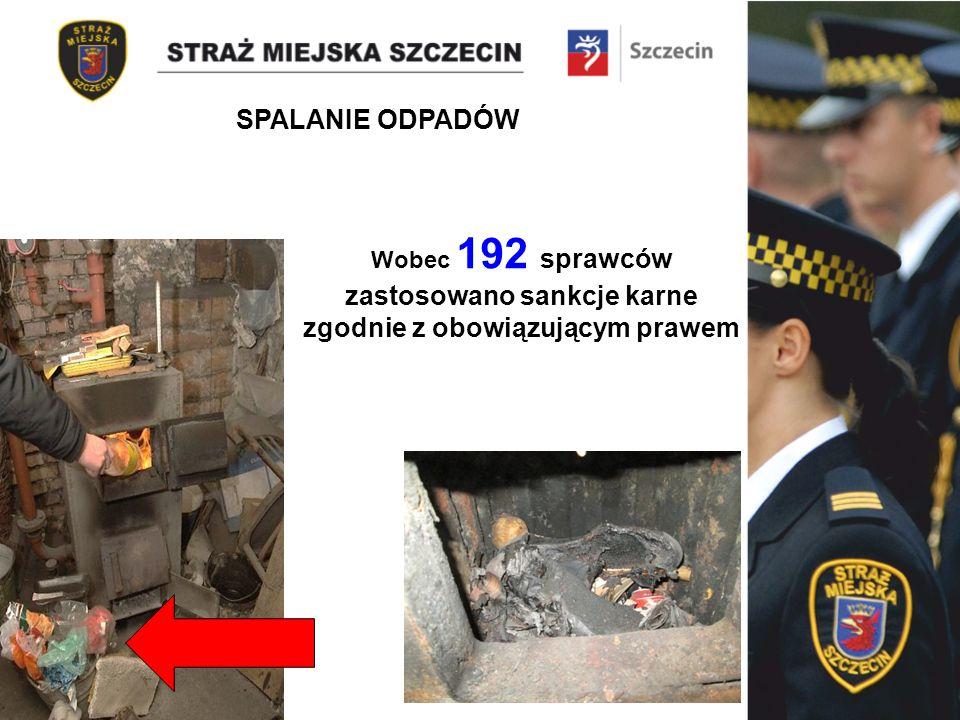 Wobec 192 sprawców zastosowano sankcje karne zgodnie z obowiązującym prawem SPALANIE ODPADÓW