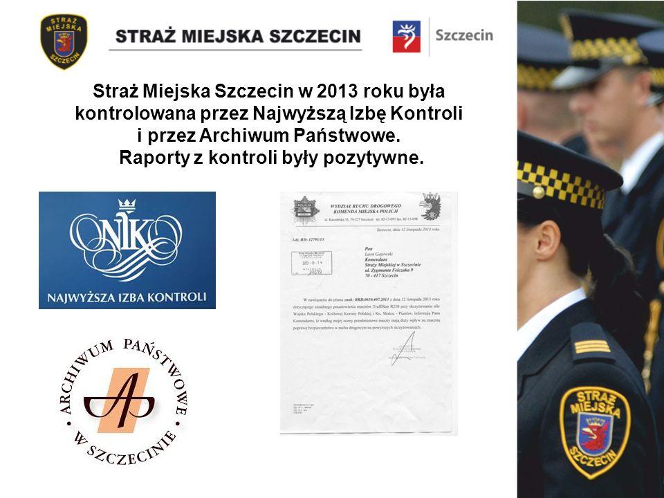 Straż Miejska Szczecin w 2013 roku była kontrolowana przez Najwyższą Izbę Kontroli i przez Archiwum Państwowe.