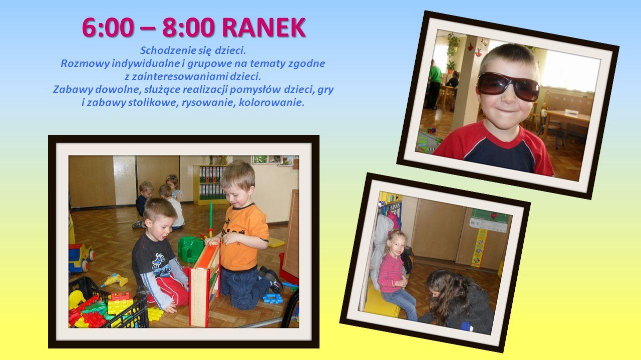 6:00 – 8:00 RANEK 6:00 – 8:00 RANEK Schodzenie się dzieci. Rozmowy indywidualne i grupowe na tematy zgodne z zainteresowaniami dzieci. Zabawy dowolne,