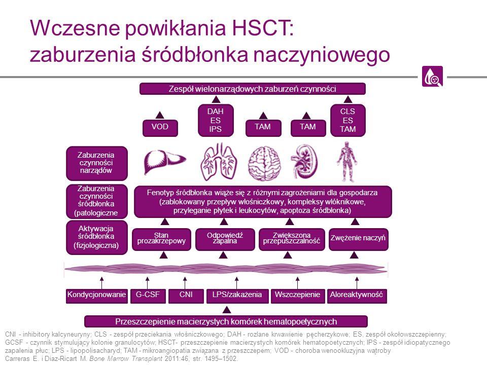 Wczesne powikłania HSCT: zaburzenia śródbłonka naczyniowego CNI - inhibitory kalcyneuryny; CLS - zespół przeciekania włośniczkowego; DAH - rozlane krw