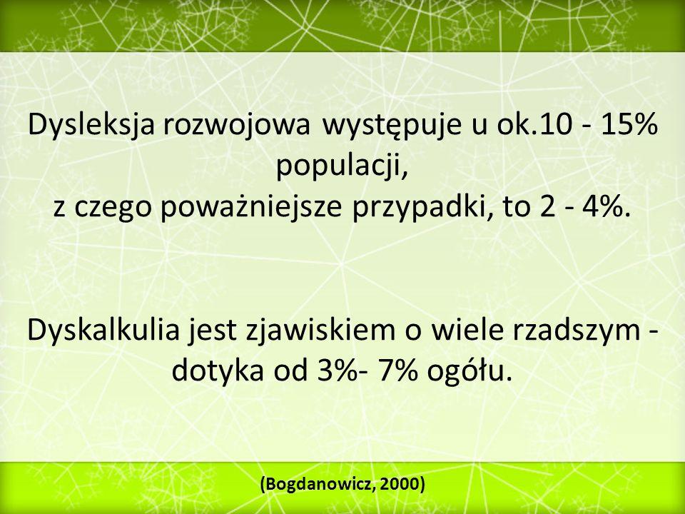 Dysleksja rozwojowa występuje u ok.10 - 15% populacji, z czego poważniejsze przypadki, to 2 - 4%. Dyskalkulia jest zjawiskiem o wiele rzadszym - dotyk
