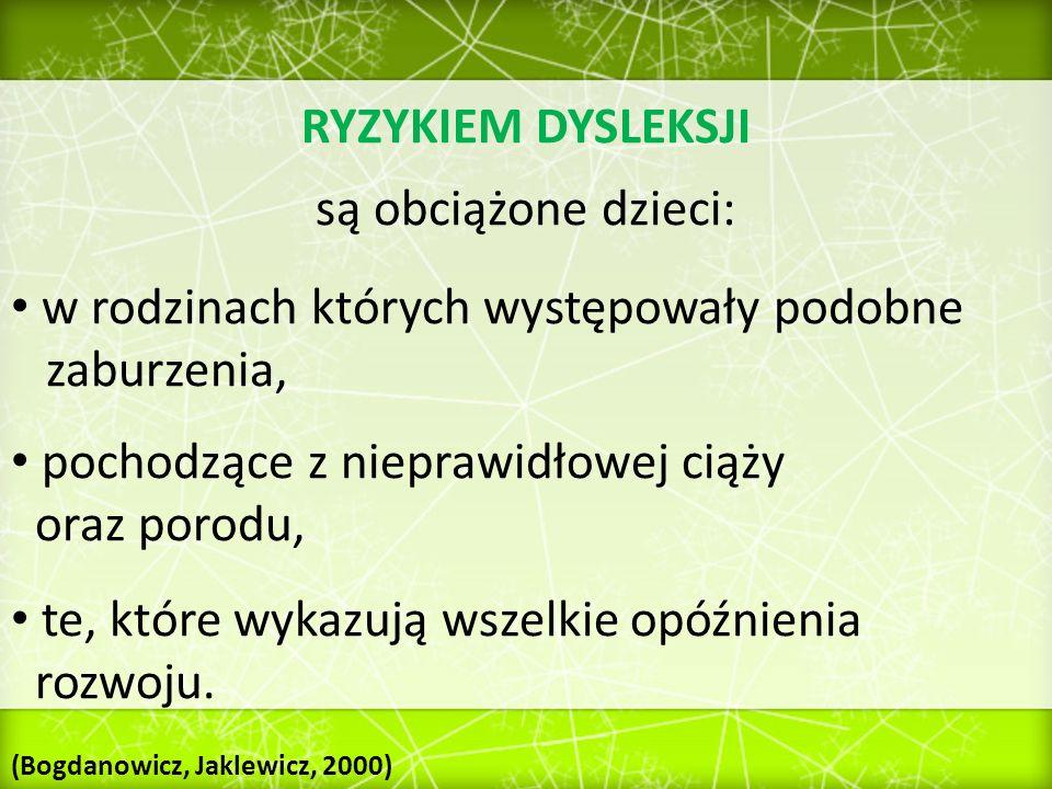 SYMPTOMATOLOGIA RYZYKA / DYSLEKSJI ROZWOJOWEJ Lista objawów wskazujących na niepokojące dysharmonie rozwoju.