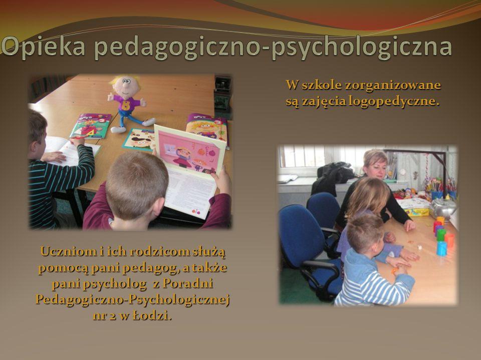 Uczniom i ich rodzicom służą pomocą pani pedagog, a także pani psycholog z Poradni Pedagogiczno-Psychologicznej nr 2 w Łodzi.